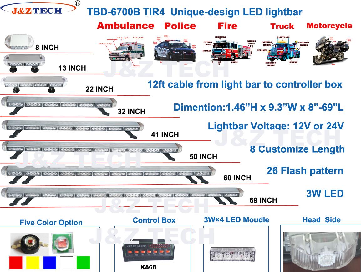 Información completa de la barra de luces de advertencia 6700B